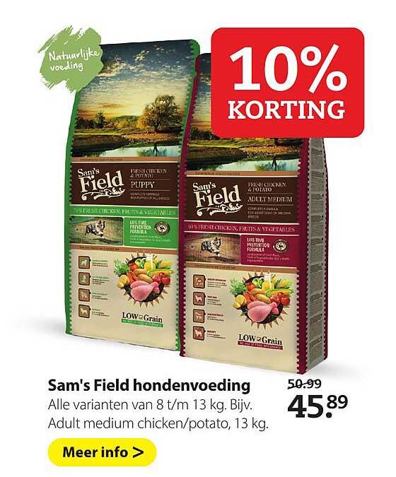 Boerenbond Sam's Field Hondenvoeding 10% Korting