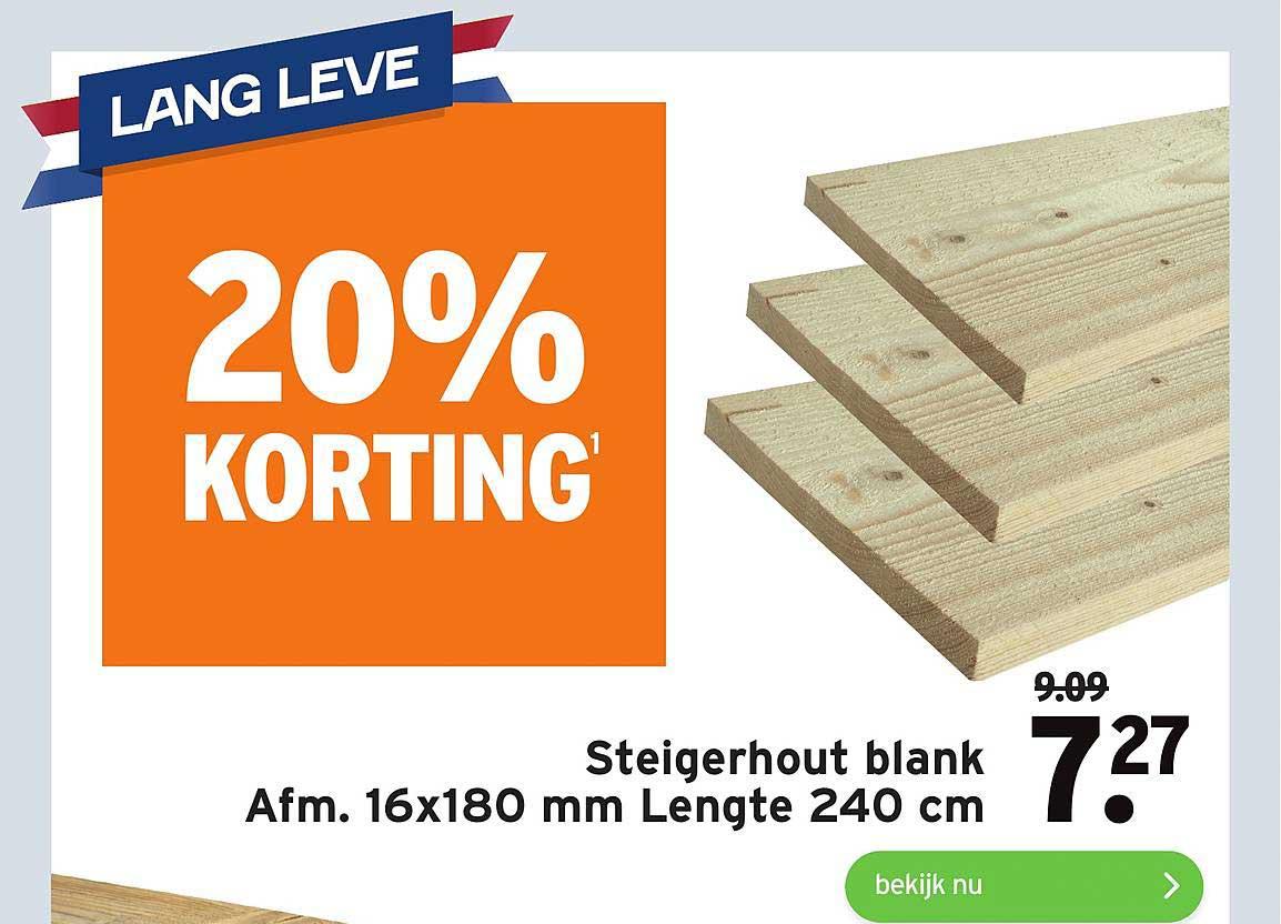 Gamma Steigerhout Blank 16x180 Mm Lengte 240 Cm 20% Korting