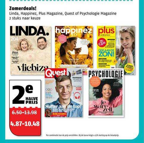 Poiesz Zomerdeals! : Linda, Happinez, Plus Magazine, Quest Of Psychologie Magazine