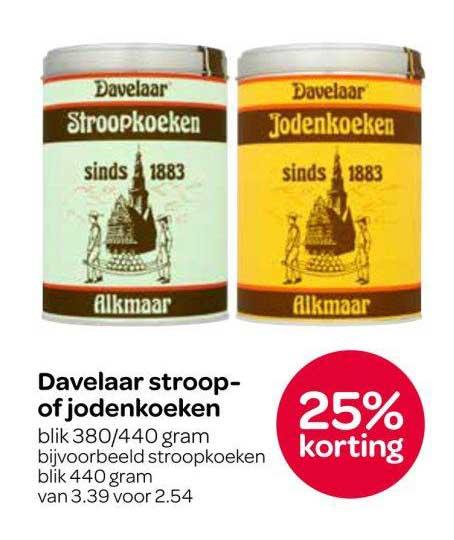 Spar Davelaar Stroop Of Jodenkoeken: 25% Korting