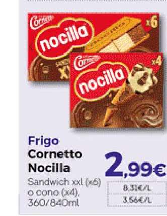 Hiber Frigo Cornetto Nocilla Sandwich Xxl O Cono