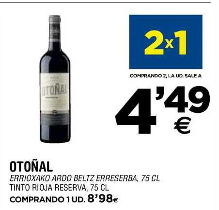 BM Supermercados 2x1 Otoñal Tinto Rioja Reserva, 75 Cl
