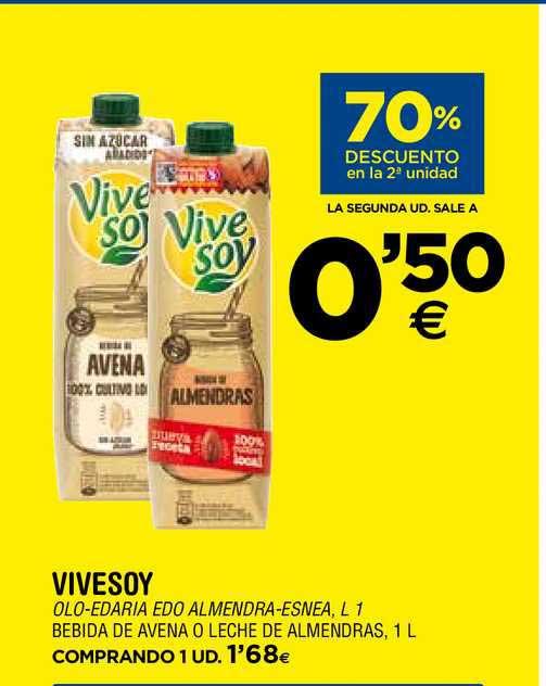 BM Supermercados 70% Descuento En La 2ª Unidad Vivesoy Bebida De Avena O Leche De Almendras, 1 L