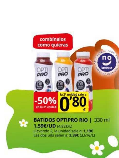 Supermercados MAS -50% En La 2a Unidad Batido Optipro Rio