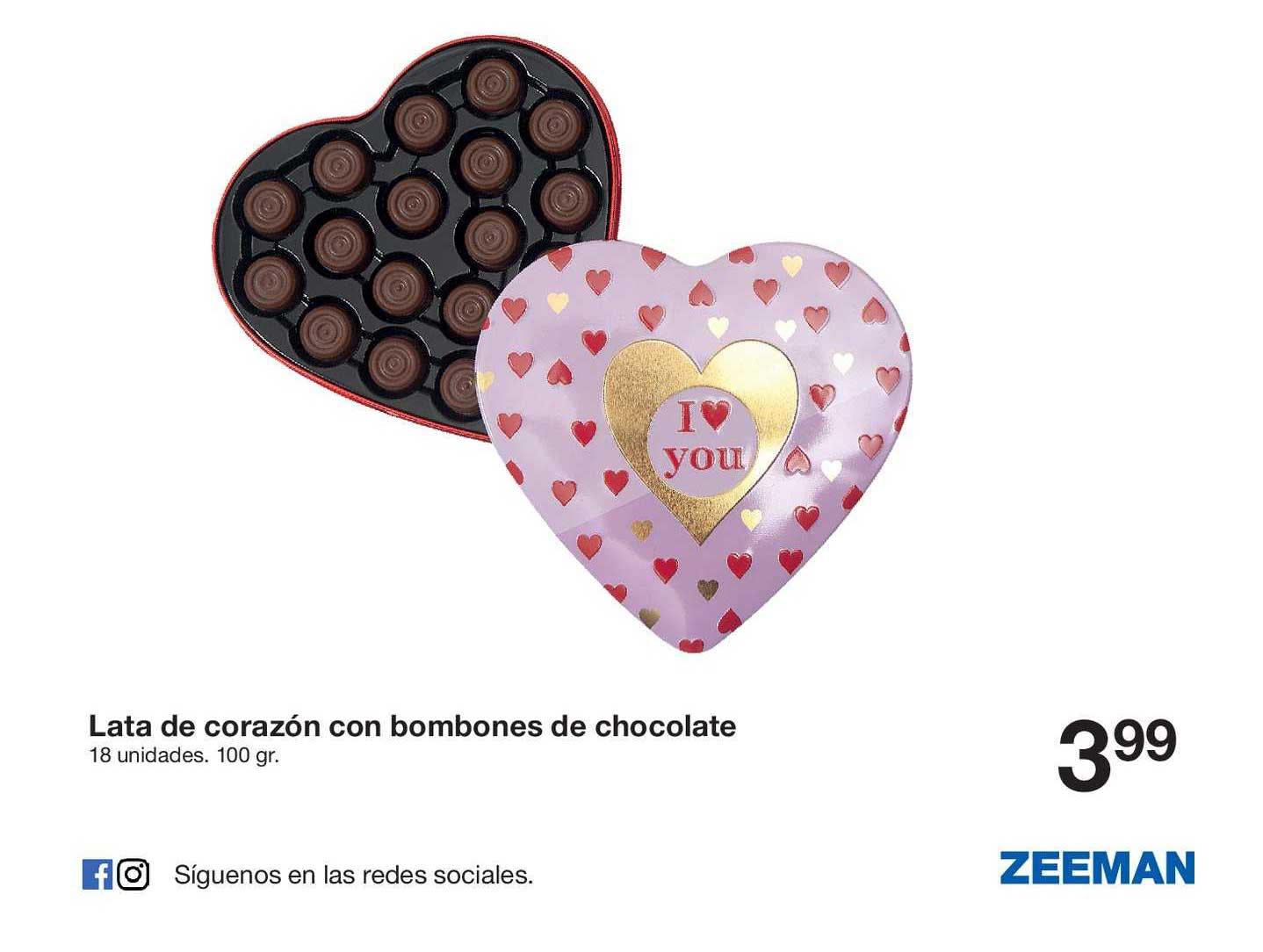 Zeeman Lata De Corazón Con Bombones De Chocolate