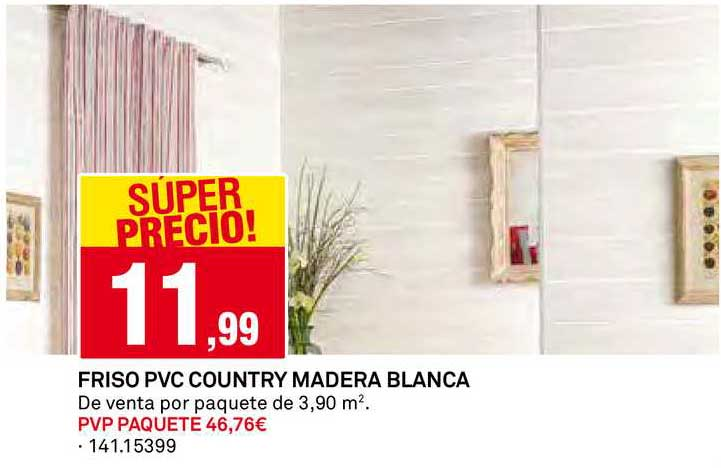 Bricoking Friso PVC Country Madera Blanca