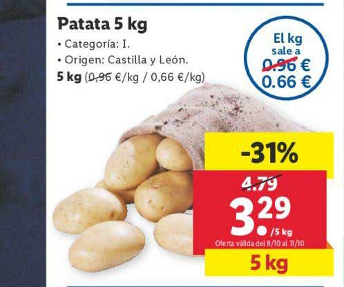 LIDL -31% Patata 5 Kg
