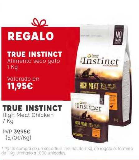 Kiwoko True Instinct High Meat Chicken 7 Kg Regalo True Instinct Alimento Seco Gato 1 Kg