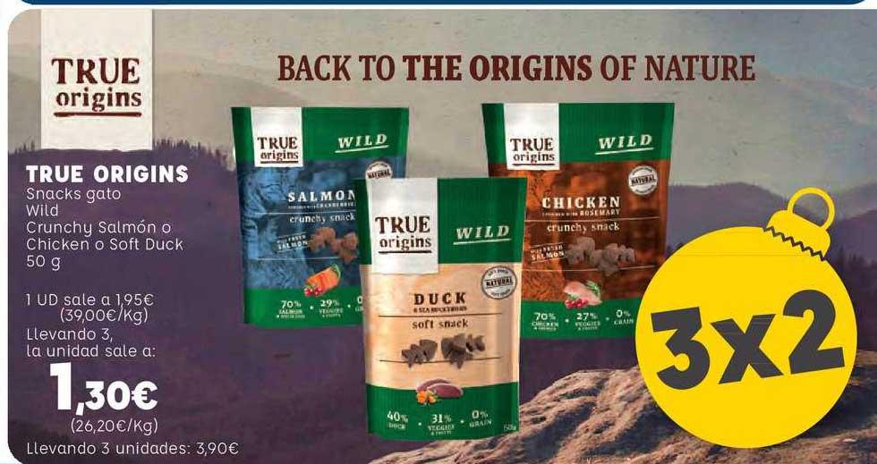 Kiwoko 3x2 True Origins Snacks Gato Wild Crunchy Salmón O Chicken O Soft Duck 50 G
