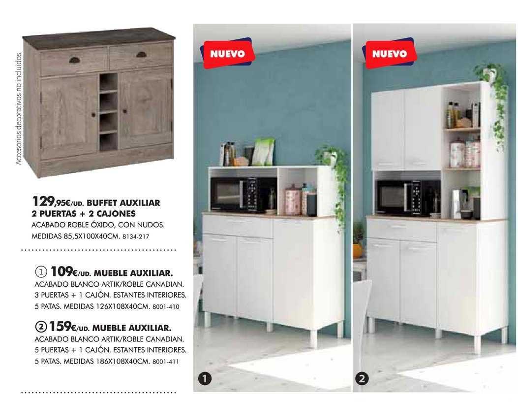 BricoCentro Buffet Auxiliar 2 Puertas + 2 Cajones Mueble Auxiliar