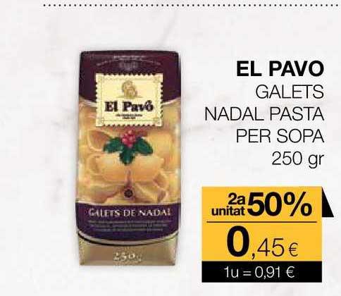 Plusfresc El Pavo Galets Nadal Pasta Per Sopa 2a Unitat 50%