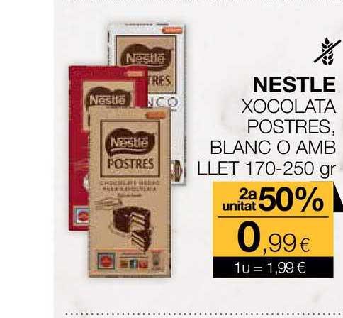 Plusfresc Nestlé Xocolata Postres Blanc O Amb Llet 2a Unitat 50%