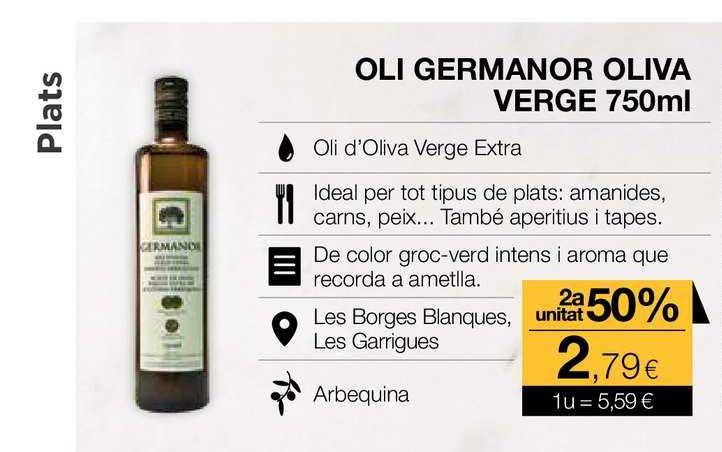 Plusfresc Oli Germanor Oliva Verge 2a Unitat 50%