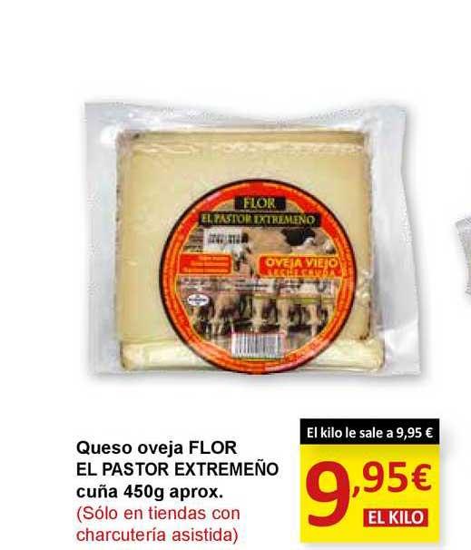 SPAR Queso Oveja Flor El Pastor Extremeño Cuña 450 G Aprox.