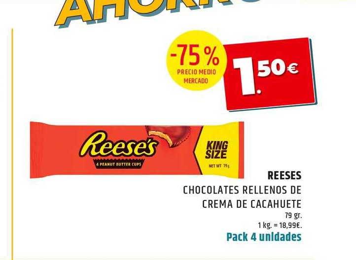 Dealz -75% REESES Chocolates Rellenos De Crema De Cacahuete 79gr.
