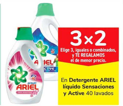 Carrefour Market 3x2 En Detergente ARIEL Líquido Sensaciones Y Active