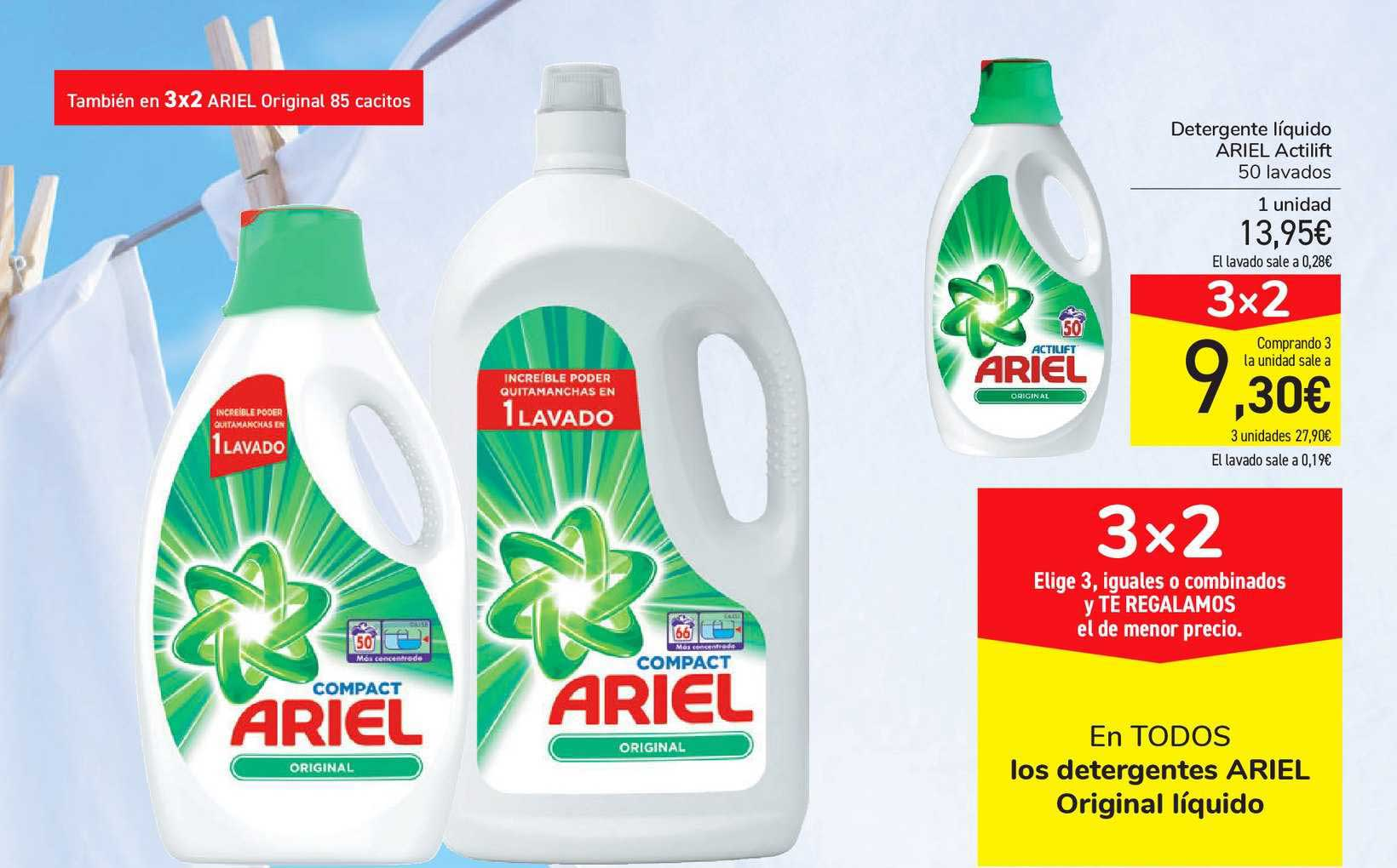 Carrefour Market 3x2 En TODOS Los Detergentes ARIEL Original Líquido