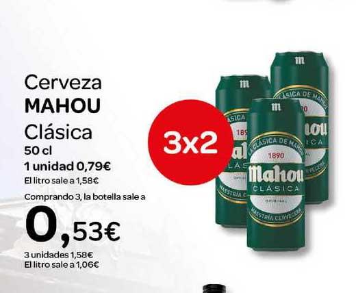 Carrefour 3x2 Cerveza MAHOU Clásica 50 Cl