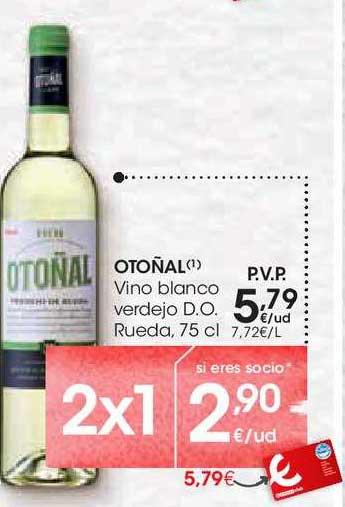 EROSKI 2x1 Otoñal Vino Blanco Verdejo D.o. Rueda, 75 Cl