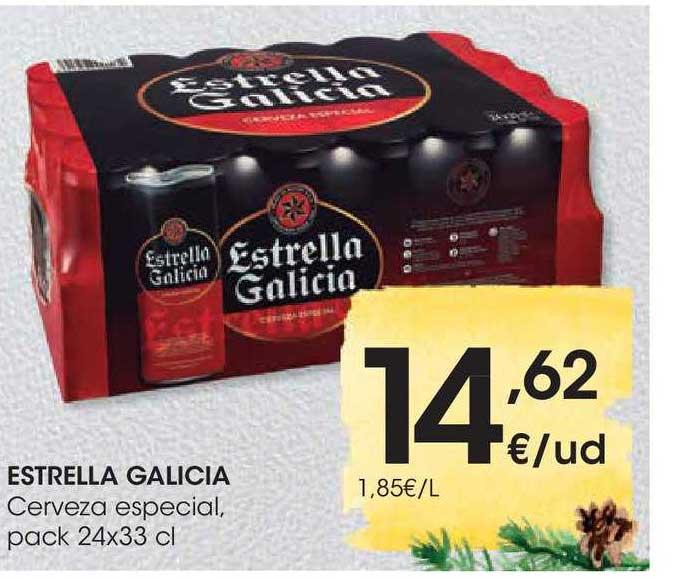 EROSKI Estrella Galicia Cerveza Especial, Pack 24x33 Cl