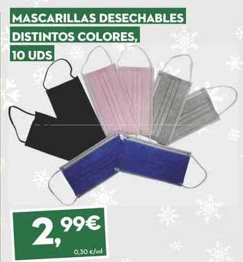 SuperSol Mascarillas Desechables Distintos Colores, 10 Uds