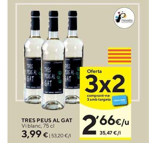 Caprabo Oferta 3x2 Tres Peus Al Gat Vi Blanc, 75 Cl