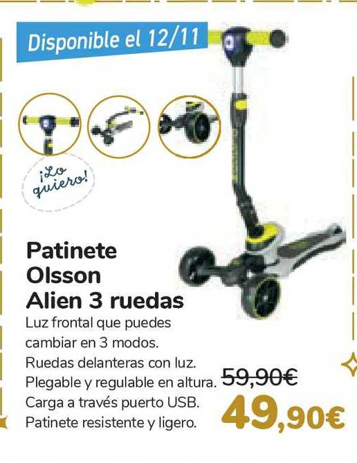 Carrefour Patinette Olsson Alien 3 Ruedas