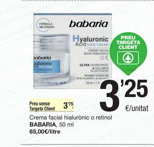 SPAR Fragadis Crema Facial Hialurònico O Retinol Babaria