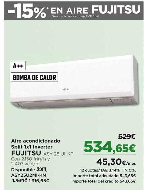 Oferta Aire Acondicionado Split 1x1 Inverter Fujitsu En El Corte Ingles
