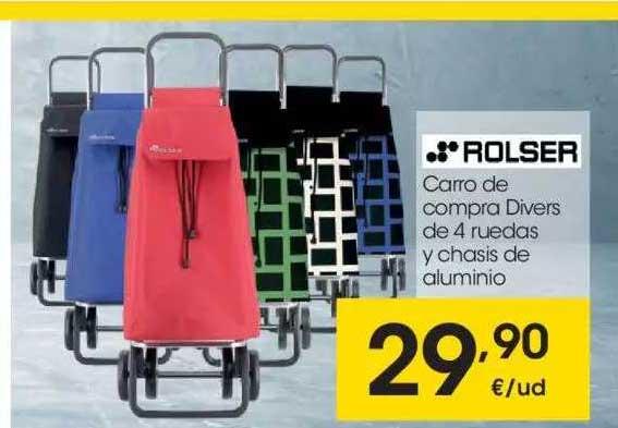 EROSKI Rolser Carro De Compra Divers De 4 Ruedas Y Chasis De Aluminio