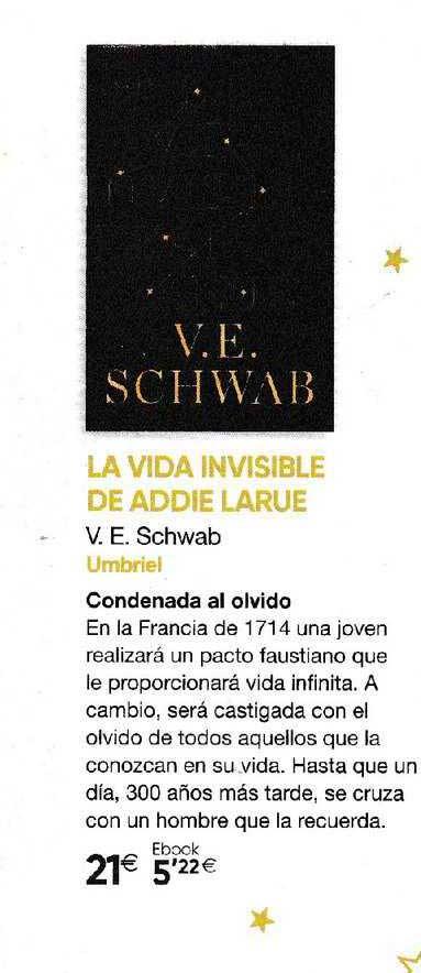 Fnac La Vida Invisible De Addie Larue V.e. Schwab