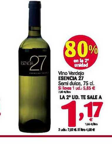 Alimerka Vino Verdejo Esencia 27 80% En La 2a Unidad