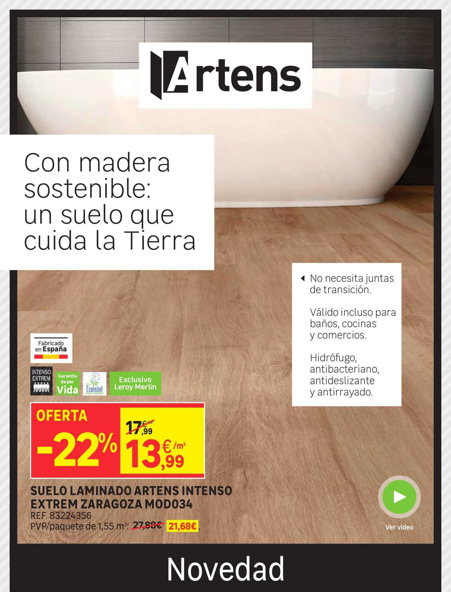 Leroy Merlin Oferta -22% Suelo Laminado Artens Intenso Extrem Zaragoza Mod034