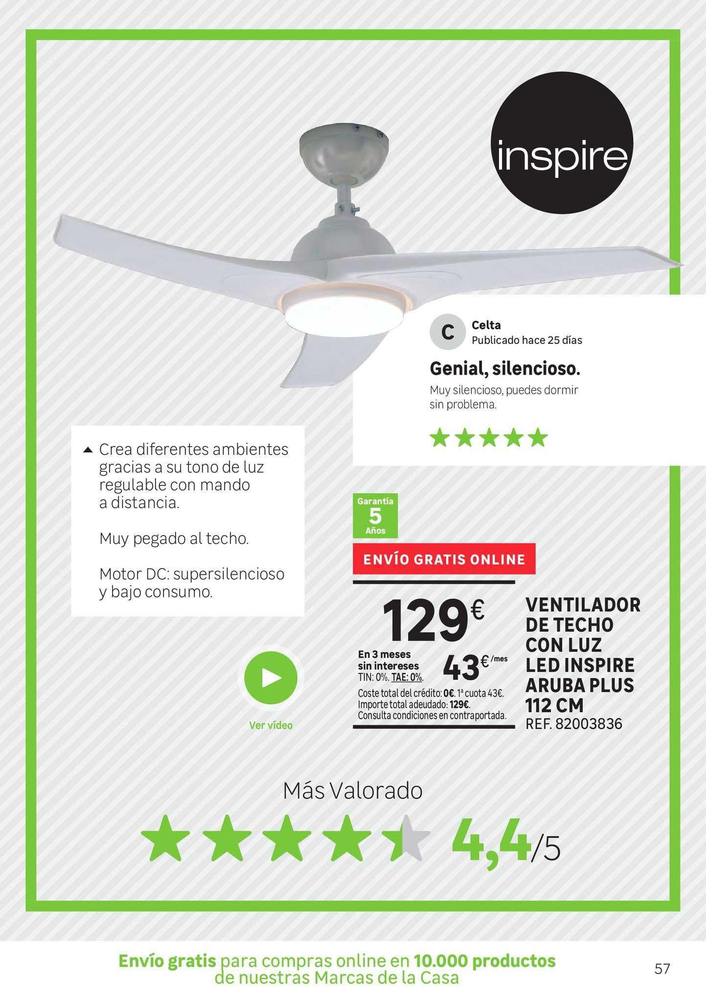 Leroy Merlin Ventilador De Techo Con Luz Led Inspire Aruba Plus 112cm