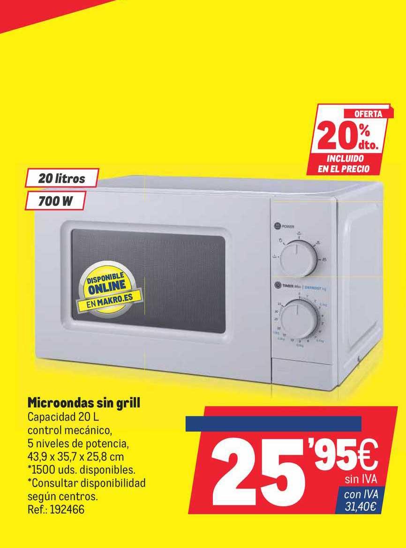 Makro Oferta 20% Dto. Incluido En El Precio Microondas Sin Grill