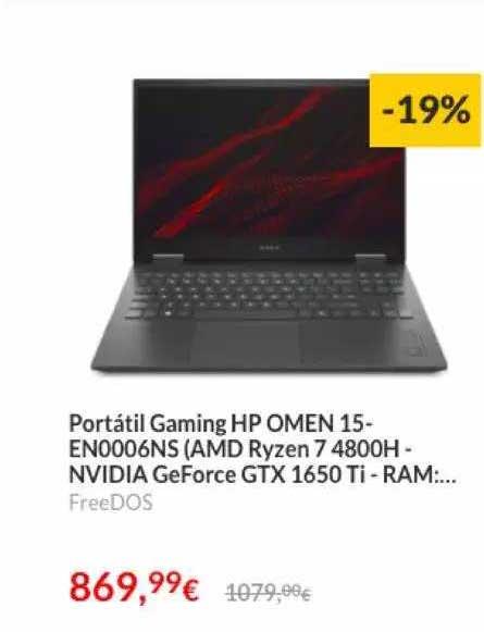 Worten Portátil Gaming Hp Omen 15-en0006ns (amd Ryren 7 4800h-nvidia Geforce Gtx 1650 Ti-ram...