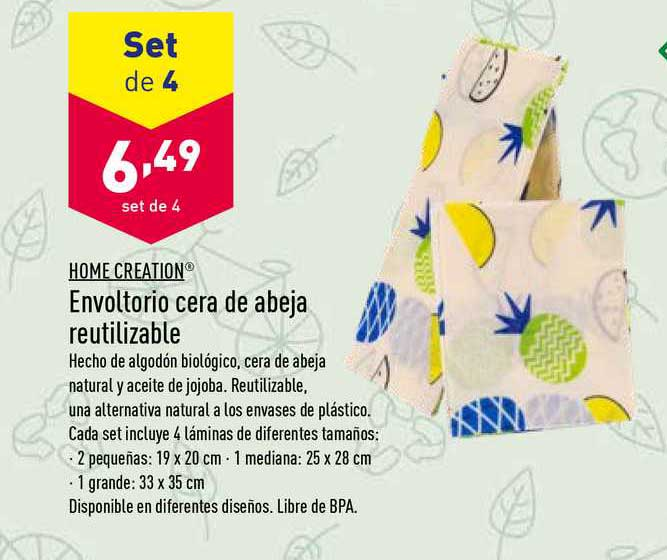 ALDI Home Creation Envoltorio Cera De Abeja Reutilizable