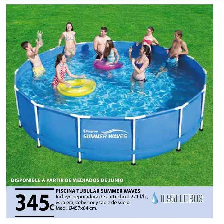 Tú Brico-Marian Piscina Tubular Summer Waves Incluye Depuradora De Cartucho 2271 Escalera Cobertor Y Tapiz De Suelo 457x84 Cm