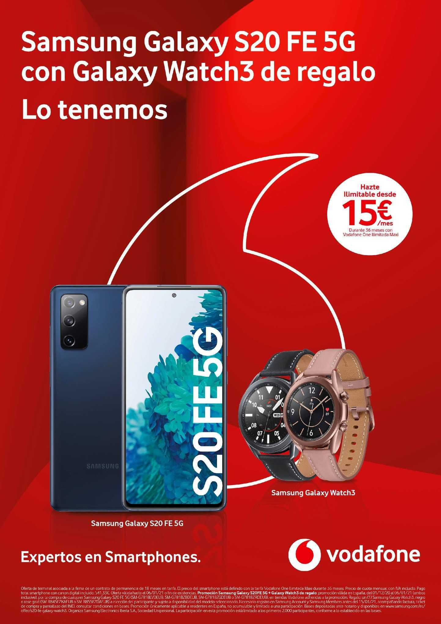 Vodafone Samsung Galaxy S20 Fe 5g Con Galaxy Watch3 De Regalo