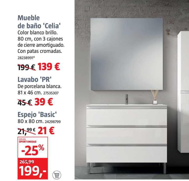 BAUHAUS Mueble De Baño Celia Lavabo Pr Espejo Basic