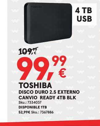 Worten Toschiba Disco Duro 2.5 Externo Canvio Ready 4tb Blk