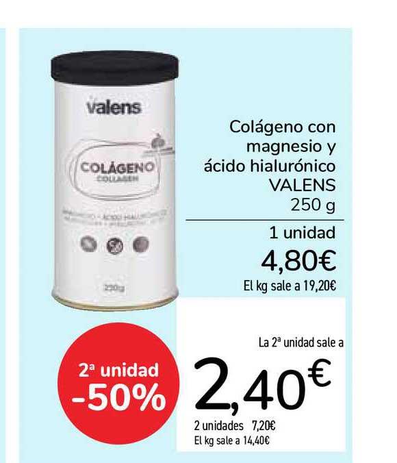 Carrefour Colágeno Con Magnesio Y ácido Hialurónico Valens 2a Unidad -50%
