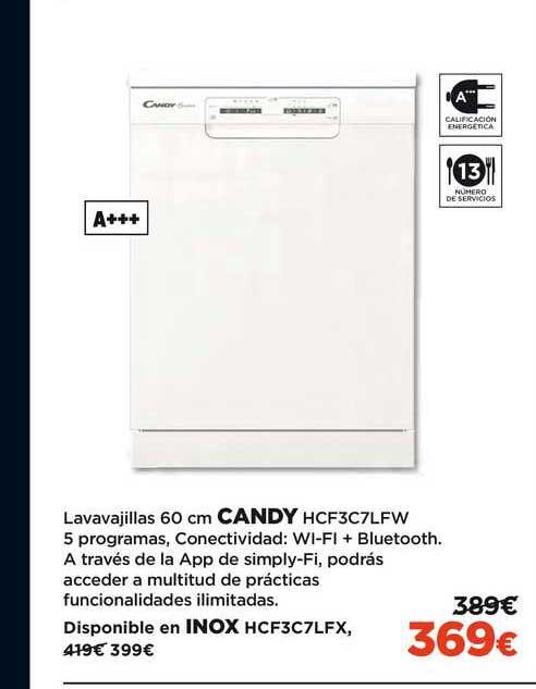 El Corte Inglés Lavavajillas 60 Cm Candy HCF3C7LFW
