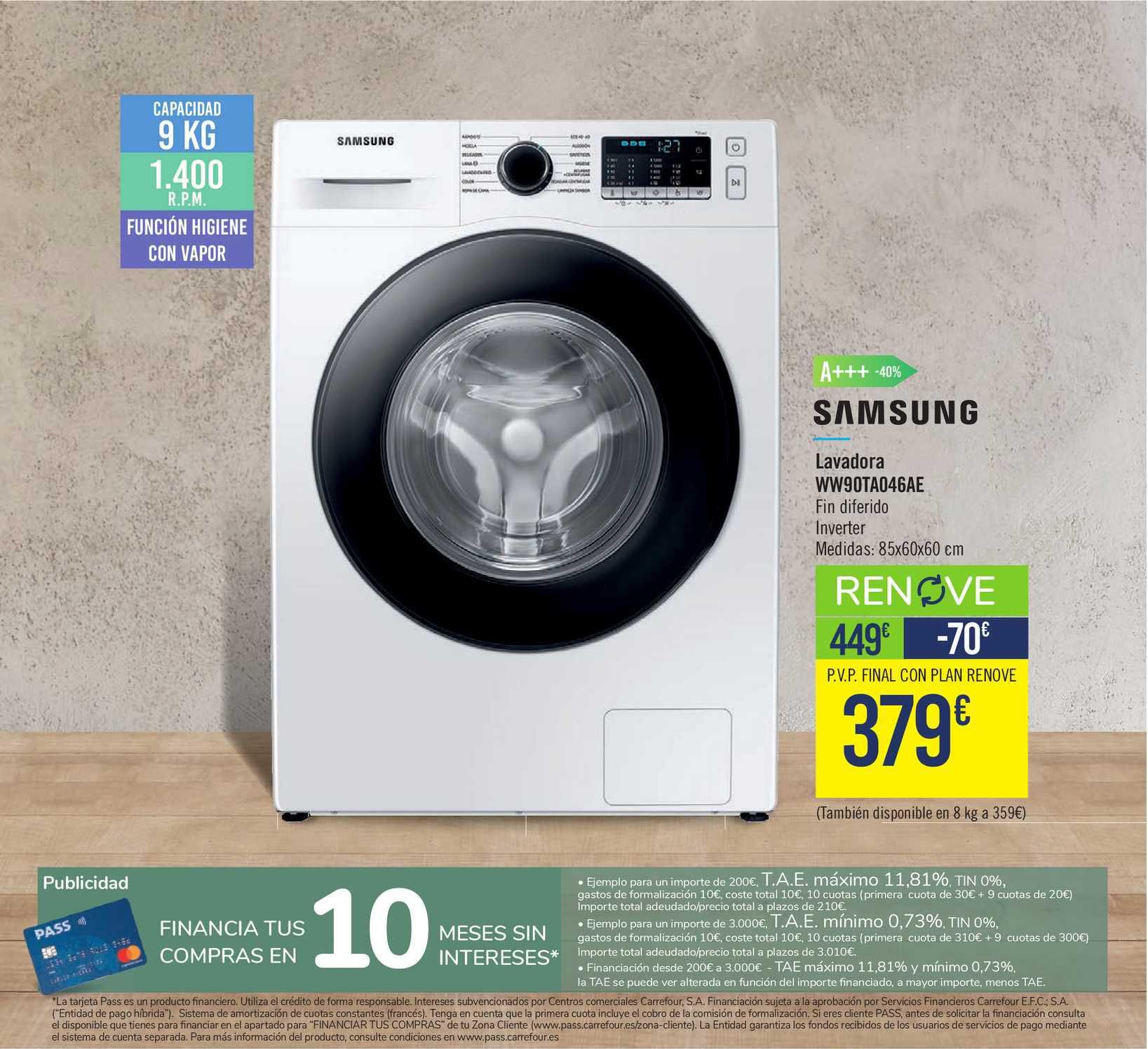 Carrefour Samsung Lavadora Ww90ta046ae