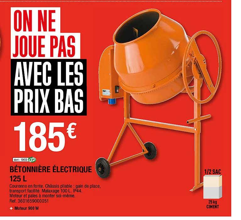 Brico Depôt Bétonnière électrique 125l