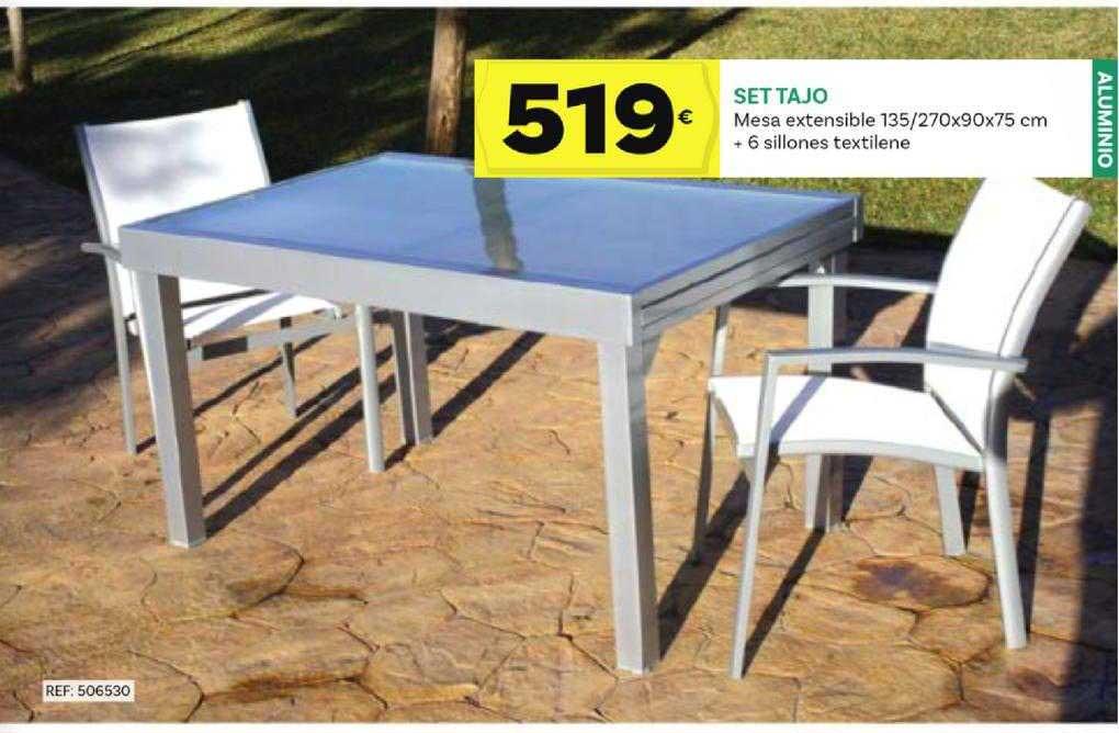 Supermercados Dani Set Tajo Mesa Extensible 135 ̸ 270x90x75 Cm + 6 Sillones Textilene