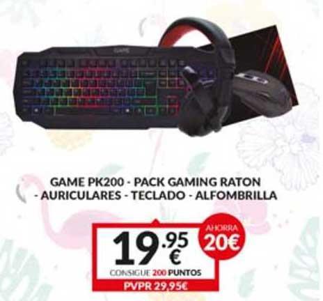 Game Game Pk200 - Pack Gaming Raton - Auriculares - Teclado - Alfombrilla