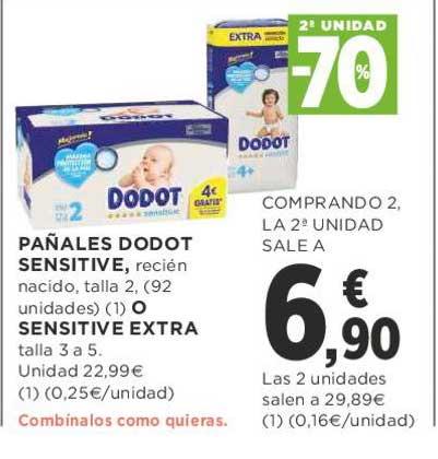 Supercor 2ᵃ Unidad -70% Pañales DODOT Sensitive O Sensitive Extra