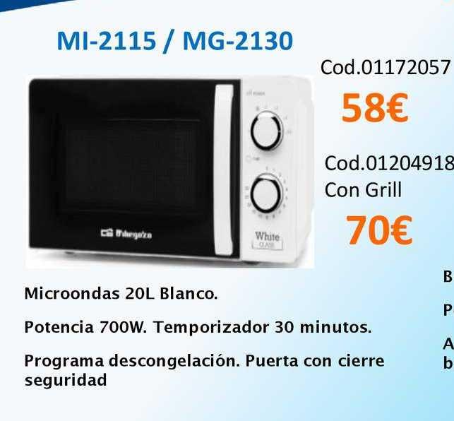 Master Cadena Ml-2115 ∕ MG-2130 Microondas 20L Blanco