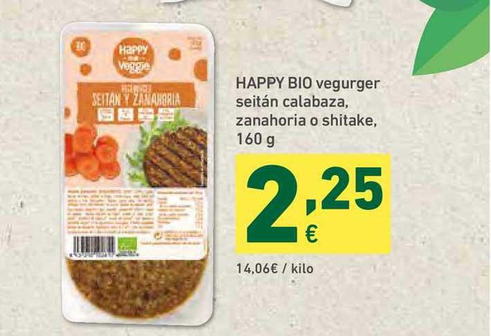 HiperDino Happy Bio Vegurger Seitán Calabaza Zanahoria O Shitake